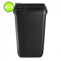 Afvalbak 43 ltr kunststof mat zwart  met open deksel