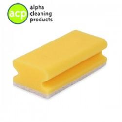 Schuurspons  7 x 14,2 x 4,5 cm. geel / wit met greep pak a 10 stuks