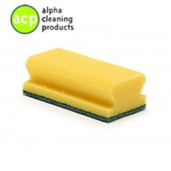 Schuurspons  7 x 14,2 x 4,5 cm. geel / groen met greep pak a 10 stuks