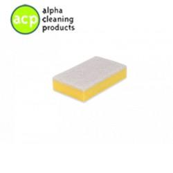 Schuurspons  9 x 15 x 3 cm. geel / wit  zonder greep pak a' 10 stuks