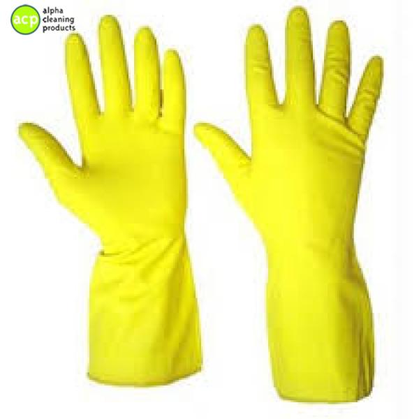 Huishoudhandschoen Geel S ACTIE per 12 paar Huishoud