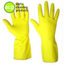 Huishoudhandschoen M Geel 12 paar