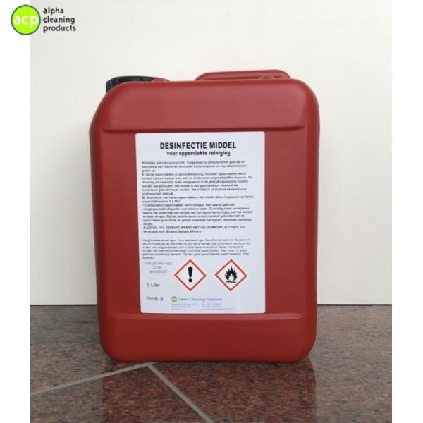 Alpha Oppervlakte reiniger Ethanol op basis 70% Alcohol  5 ltr
