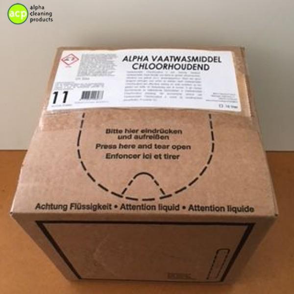 Vaatwasmiddel vloeibaar Alpha Line Chloorhoudend BAG IN BOX Vaatwas